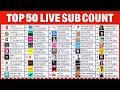 Gambar cover Top 50 YouTube Live Sub Count - PewDiePie, T-Series & More!