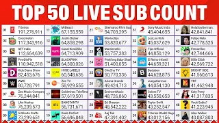 Top 50 YouTube Live Sub Count - PewDiePie, T-Series & More!