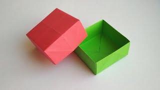 Как сделать коробочку из бумаги своими руками. Оригами коробка с крышкой для подарка без клея.