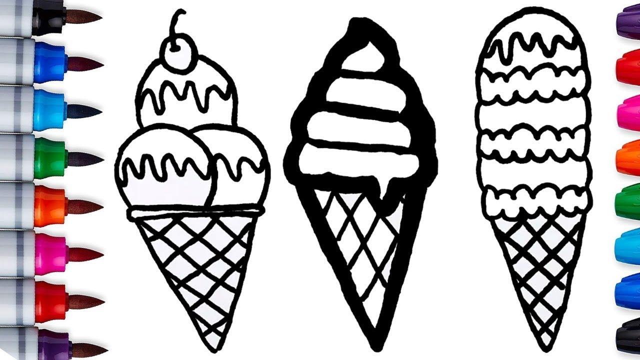 cara menggambar dan mewarnai popsicle ice creams  drawing