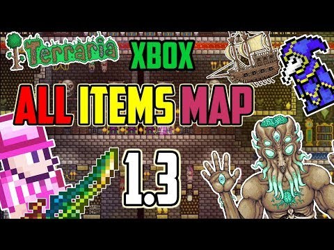 Terraria 1.3 XBOX - ALL ITEMS MAP - Every Item In Terraria 1.3 World Download (XBOX ONLY)