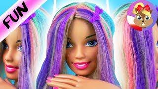 Przemiana Barbie | Tęczowe włosy | Włosy pofarbowane na kolorowo | Lalka Barbie