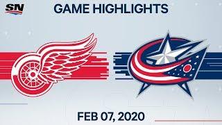 NHL Highlights   Red Wings vs. Blue Jackets – Feb. 7, 2020