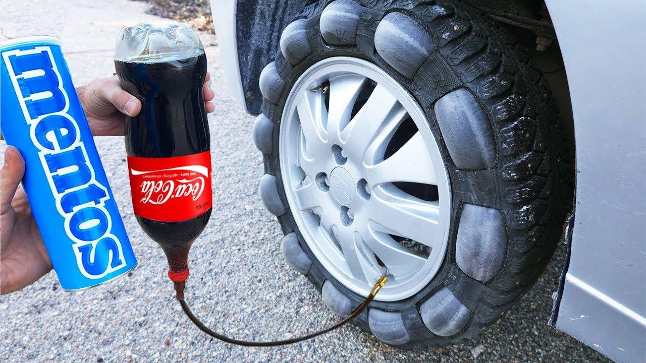 Ето какво ще стане ако напълним гумата на автомобил с кока кола и добавим Mentos!