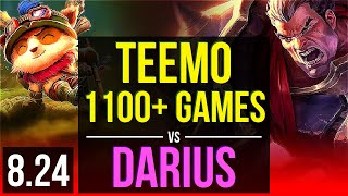 TEEMO vs DARIUS (TOP) | 1100+ games, 2 early solo kills, Godlike, KDA 9/3/7 | NA Diamond | v8.24