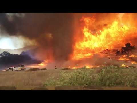 Fire whirl caught on video as crews battle Chaparral Fire in La ...