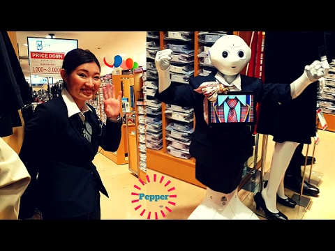 Pepper Artificial Intelligence Robot as a Sales Person in Electric Town Tokyo Japan