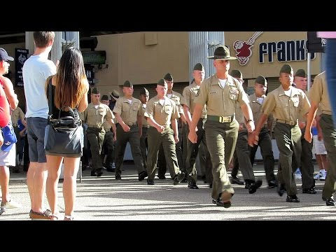 U.S. Marines Cheered Marching Out of Petco Park 8-31-14