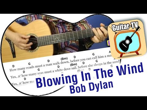 BLOWING IN THE WIND - Bob Dylan, Cover • Lyrics • Chords • Tutorial • Gitarre lernen • play along
