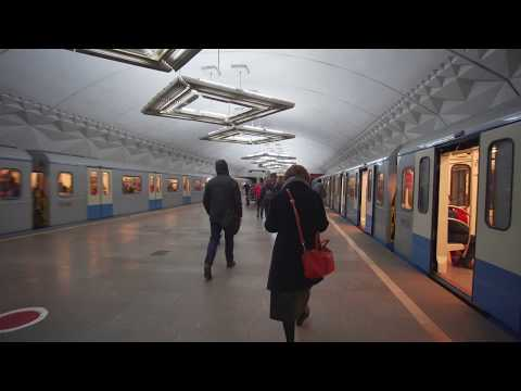 Russia, Moscow, metro ride from Серпуховска́я to Tульская