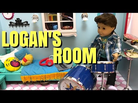 American Girl Doll Logan's Room and Drum Set