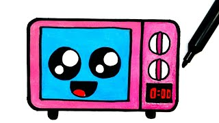 HOW TO DRAW A CUTE MICROWAVE