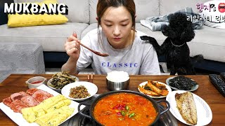 Real Mukbang:) HAMZY's Home Style Meal ★ Tuna & Kimchi jjigae, Egg Roll, Grilled Mackerel and MORE!!