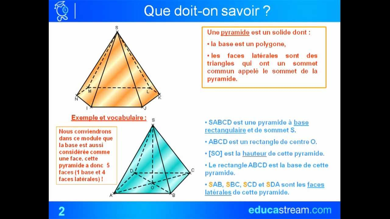 Volume d 39 une pyramide ou d 39 un c ne cours maths 4 me youtube for Calculer le volume d une maison