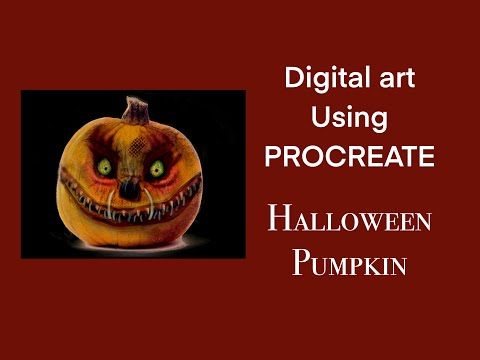 DRAW this amazing scary HALLOWEEN PUMPKIN: Procreate art tutorial thumbnail