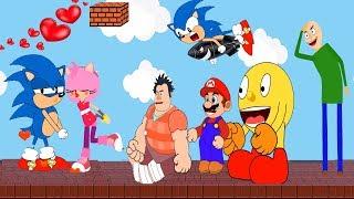 Sonic The Hedgehog Riding Boom vs Wreck it ralph 2 Help Pacman Baldi Basic, Super Mario, Amy Rose