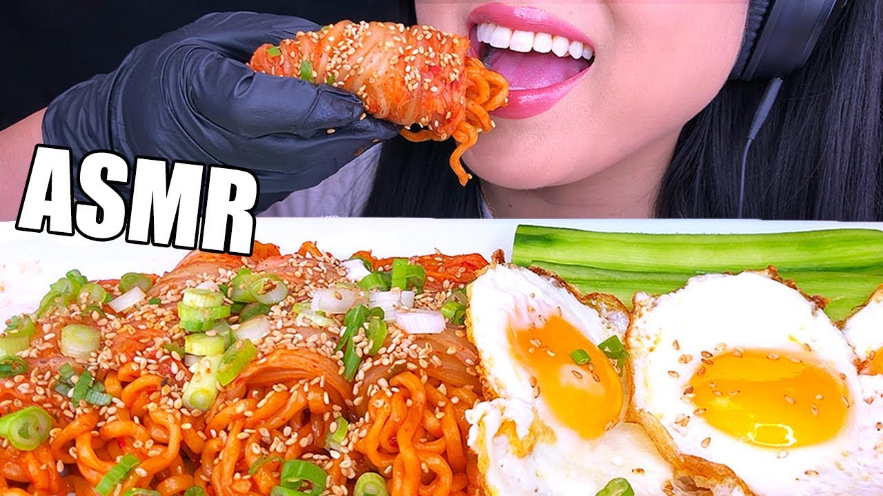 ASMR FIRE NOODLE KIMCHI WRAP & FRIED EGGS  김치쌈 *BIG BITES*  (No Talking) Eating Sounds | ASMR Ph