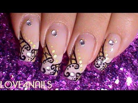 1880s Art Nouveau Style Glamour Nails Youtube