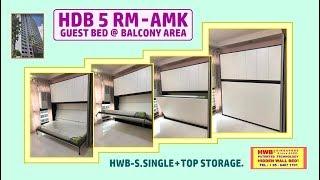 Hidden Bed HDB 5 Room. HWB S.Single Horizontal +Top Storage Cabinets.HWB HUB.BTO.EC.DBSS