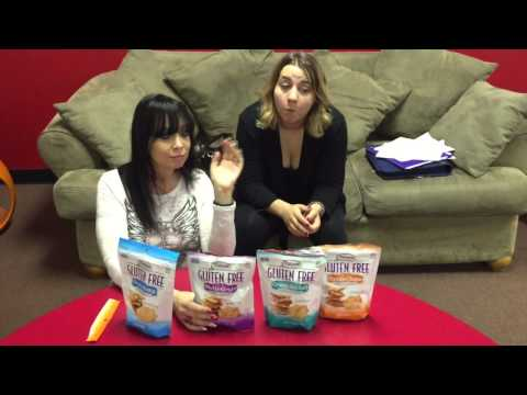 Actress Eileen Prudhont and guest Stea giving  on Milton's Gluten Free Crackers