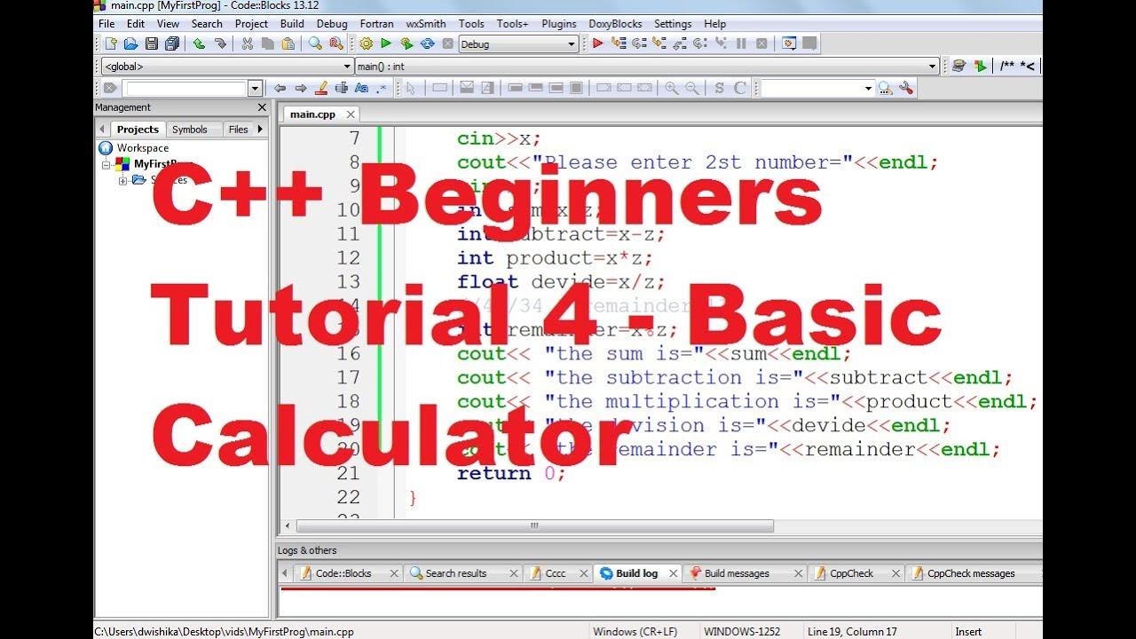 C++ Tutorial for Beginners 4 - Basic Calculator