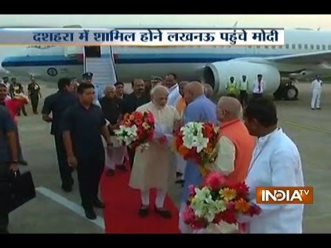 PM Narendra Modi arrives in Lucknow to attend Dussehra Mahotsav at the Aishbagh Ramleela Ground