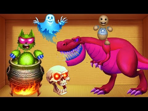 Red T-Rex Dinosaurs VS Buddy Wolfman in WITCH CAULDRON   Kick The Buddy Play Ipad 4g
