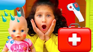 Alice and Baby Born has a cold | Alice pretend play with dolls