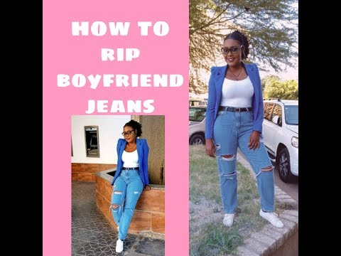 DIY ripped jeans //distressed jeans //Zambian Youtuber