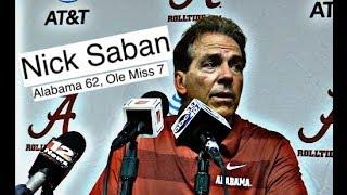 Alabama Crimson Tide Football: Nick Saban comments after 62-7 victory over Ole Miss