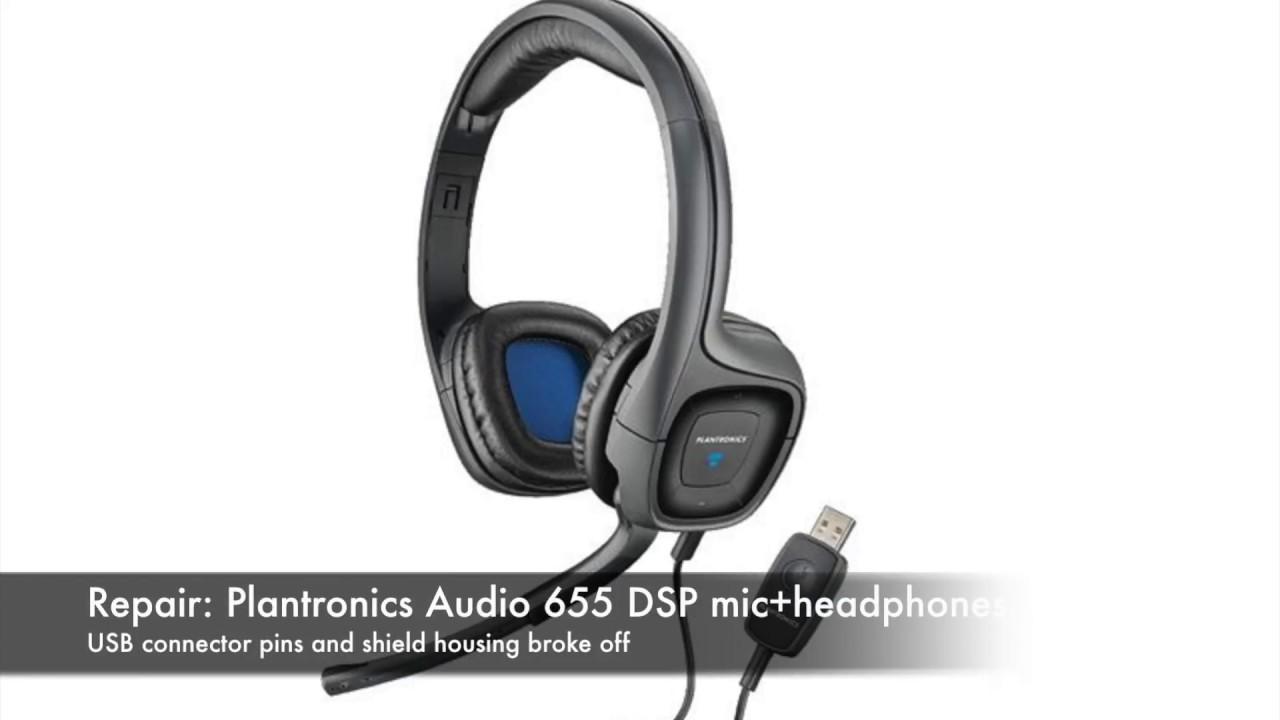 repair plantronics audio 655 dsp headphone usb broken off [ 1280 x 720 Pixel ]