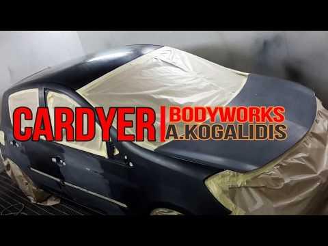 CARDYER-Spraying the RM onyx waterbone paint.