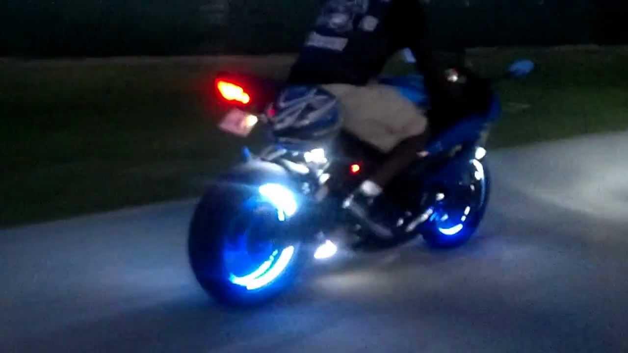 Motorcycle Led Kit >> ZX6R Led wheel Kit - YouTube