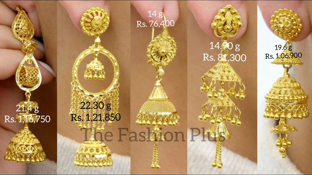 Latest 22k  Gold Jhumka Design with Weight and Price