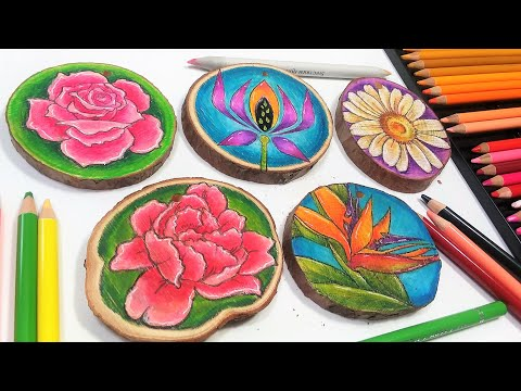 Stamping and Coloring on Wood Slices with Colored Pencil!