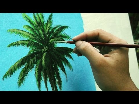 Learn How To Paint Coconut Tree - Instructional Acrylic Painting Lesson by JMLisondra
