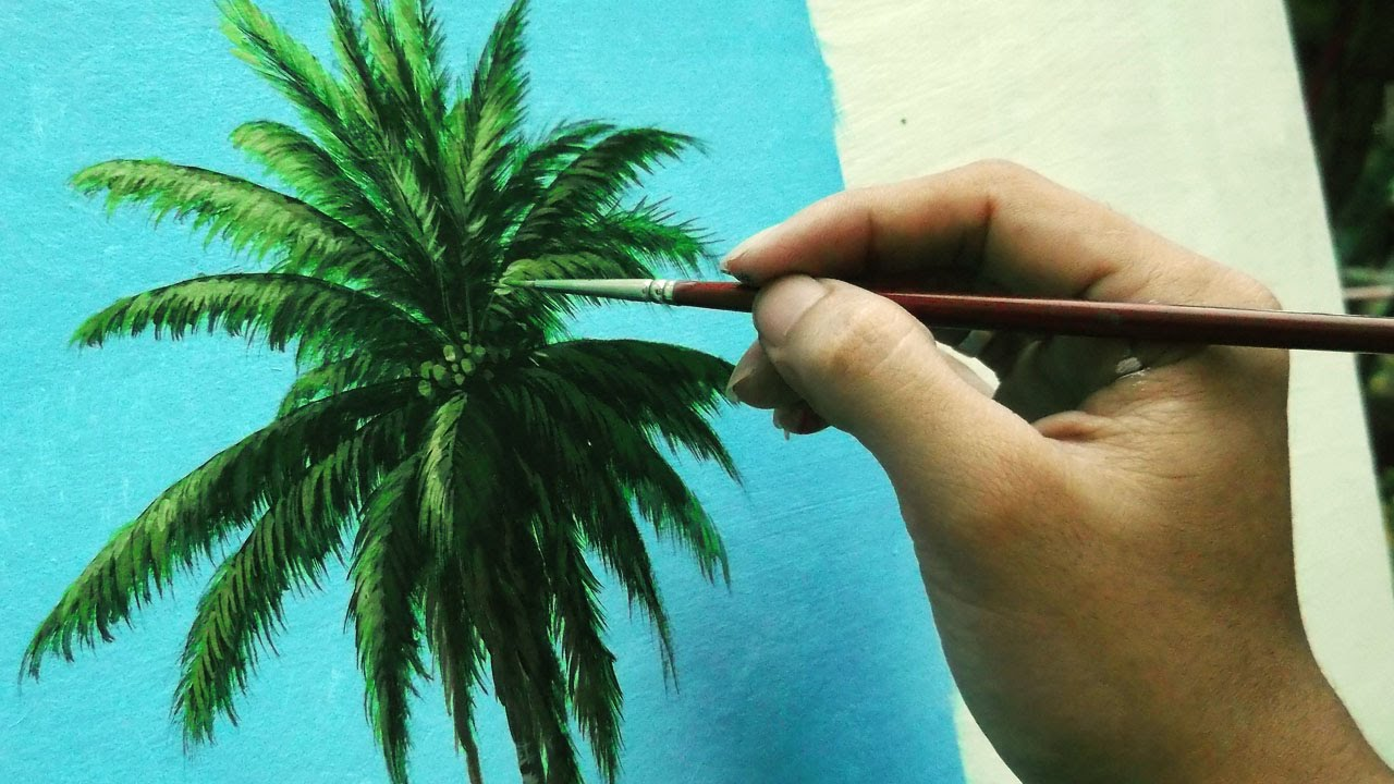 Top Learn How To Paint Coconut Tree - Instructional Acrylic Painting  AB23