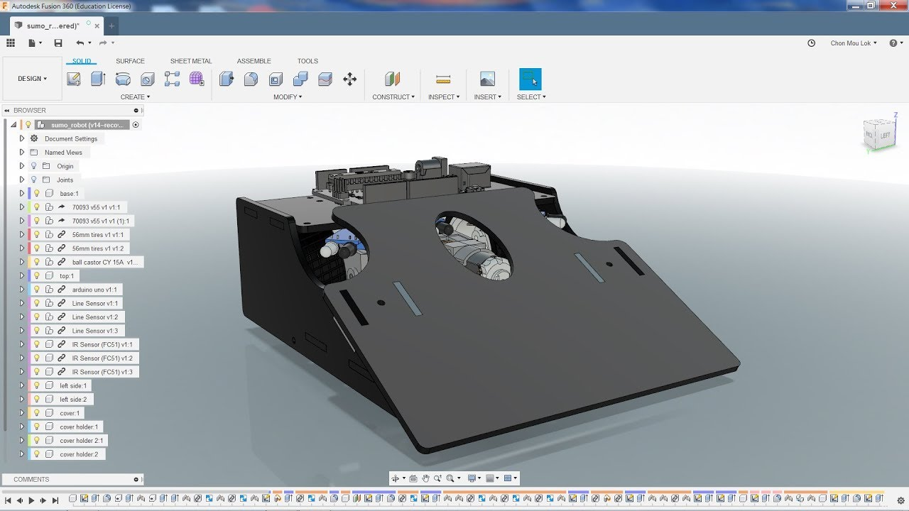 Repeat fusion 360 tutorial - sumo robot - part 1 by Chon Mou