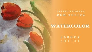 DIY How to PAINT FLOWERS. FREE Lesson No4. Flowers Watercolor Painting Online art courses Red tulips