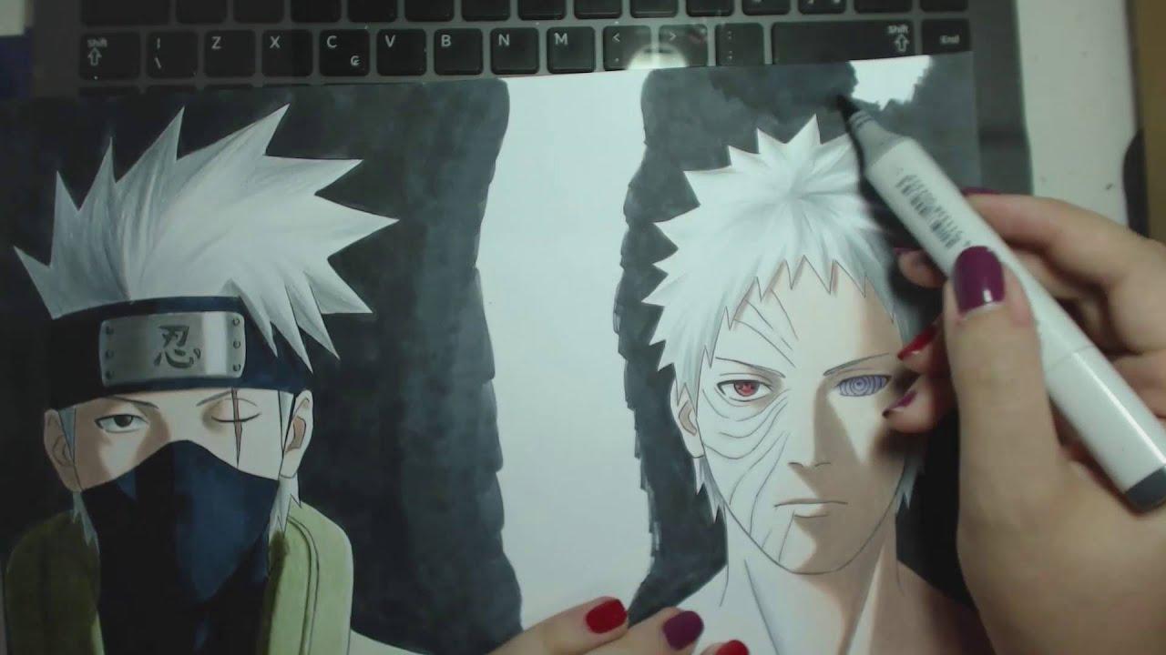 Speed Drawing Hatake Kakashi And Uchiha Obito Naruto Youtube