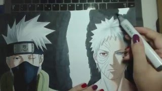 Speed Drawing - Hatake Kakashi and Uchiha Obito (Naruto)