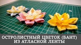 Остролистный цветок (бант) из атласной ленты