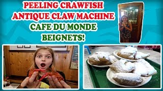 Happy Memorial Day! Cajun Crawfish, playing an Antique Claw Machine, and Beignets from Cafe Du Monde