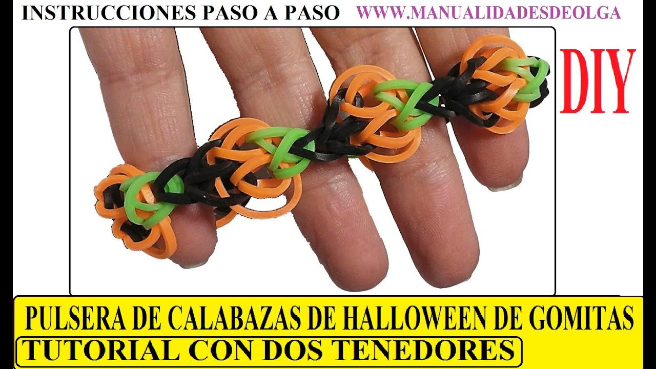 Como hacer una pulsera de calabazas de halloween de - Como hacer calabazas de halloween ...
