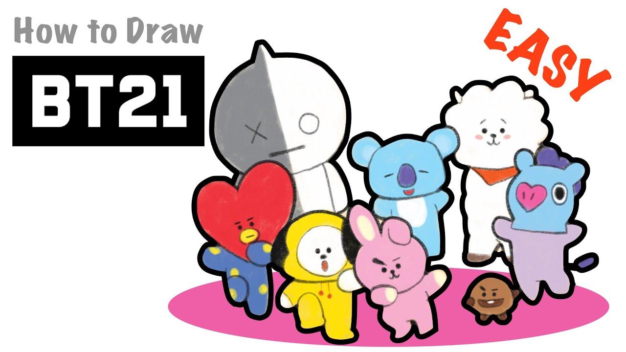 How to Draw BT21   BTS   Van. Tata. RJ. Chimmy. Cooky. Shooky. Mang. Koya - YouTube