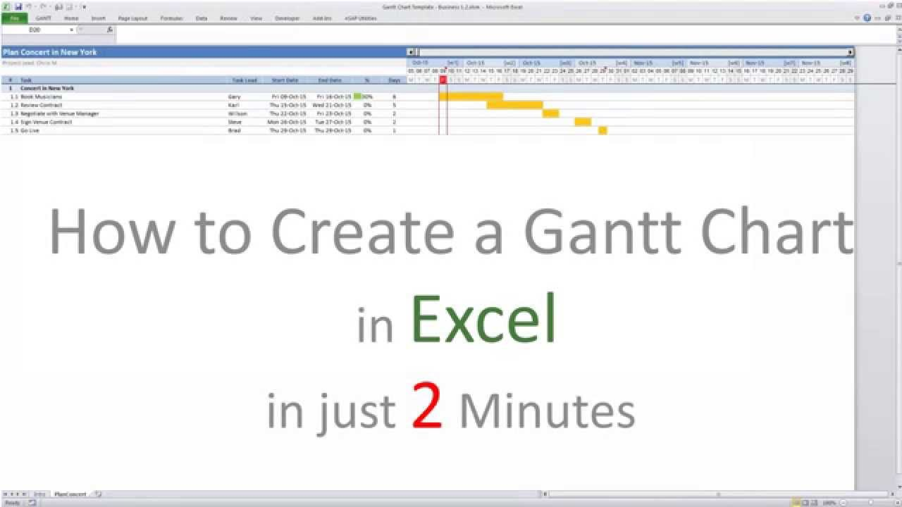 How to create a gantt chart in excel 2007 2010 2013 and 2016 youtube
