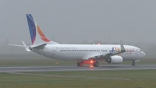 Fly Egypt Boeing 737 foggy takeoff at Graz Airport | SU-TMH