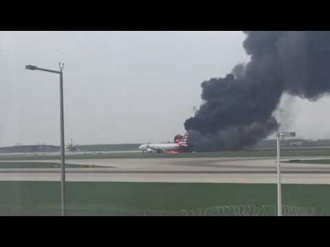 American Airlines flight 383 fire and evacuation