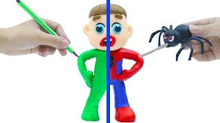 LUKA BABY PLAYS SPIDERMAN COSTUME DRESS UP 💟 Cartoons Play Doh Stop Motion
