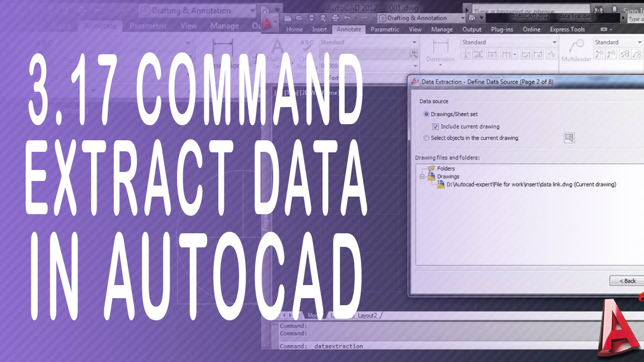 3 17 Autocad Extract Data  How to use command extract data in autocad